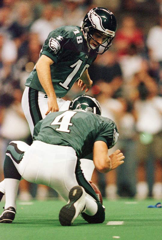 The Eagles let a chance to steal a win from defending division champ Dallas slip away. Literally. The Cowboys had fought back from a two-touchdown hole to take a 21-20 lead with 51 seconds left -- before Ty Detmer drove the Eagles downfield and Chris Bonoil came on to try a 22-yard chip shot. But holder Tom Hutton couldn't hold onto the snap, stood up and raced to his left before getting wrapped up by Deion Sanders. Game over.