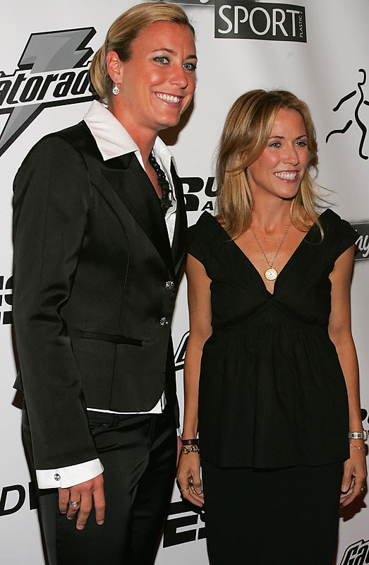 Soccer player Abby Wambach, posing with Sheryl Crow, looked a bit anxious at the Annual Salute To Women in Sports Awards Dinner in 2006.