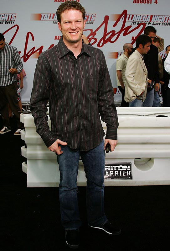 Dale Earnhardt Jr., wearing sneakers with his dark collared shirt, looked rather like he was spending the evening at the local sports bar instead of attending the movie premiere of Talladega Nights.