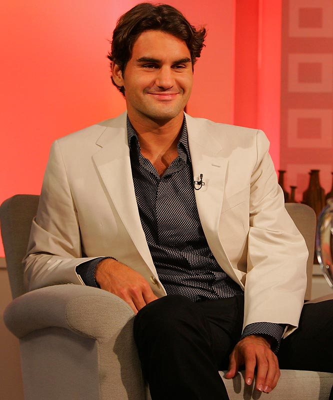 The always stylish Roger Federer, appearing on NBC's Today Show after winning the 2007 U.S. Open, appeared effortlessly put-together in black pants, dotted black shirt, and off-white jacket.