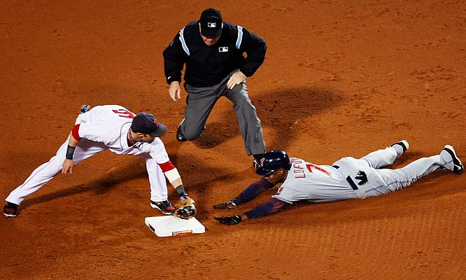 Kenny Lofton was thrown out at second after Manny Ramirez made a beautiful play off the Green Monster.