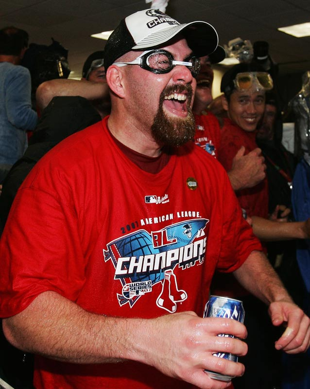 Yooooooouk! Kevin Youkilis went 3 for 5 in Game  7 and was ready for the party that followed the huge win.
