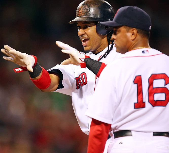 Ramirez signaled to his teammates as the Red Sox began to route the Indians in the 8th.