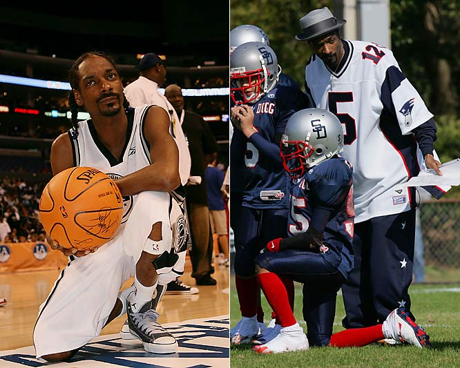 Often spotted at a wide variety of sports events, the superstar rapper has been known to play in the NBA Entertainment League. Dogg also started a youth football league in Southern California and coached his sons' team in the aptly-named Snooper Bowl.