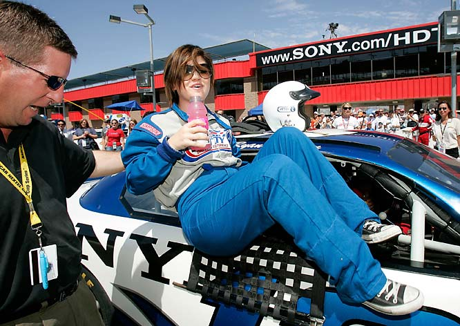 NASCAR signed the 2002 American Idol champ to the most lucrative spokesperson deal it has ever given to a recording artist. Clarkson, who played volleyball, track and basketball in high school, took a spin once with Jimmie Johnson in the pace car at the Daytona 500.