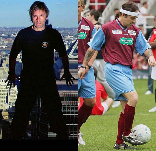 The lead singer of Iron Maiden, left, which sponsors a youth soccer team in the U.K., is a former ranked  fencer (foil) in England and founder of Duellist Fencing Equipment. Bandmate Steve Harris, right, who tried out for a pro team, plays in charity events.