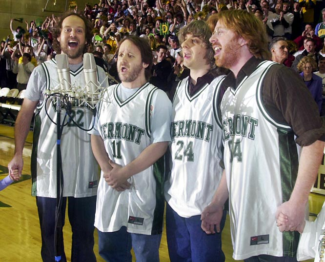 The beloved jam band was always good for a barbershop quartet rendition of the national anthem. Guitarist Trey Anastasio (far right) played hockey in high school and entertained dreams of skating for the Wisconsin Badgers. Keyboardist Page McConnell (left) formed a band named after former Oakland A's ace Vida Blue.
