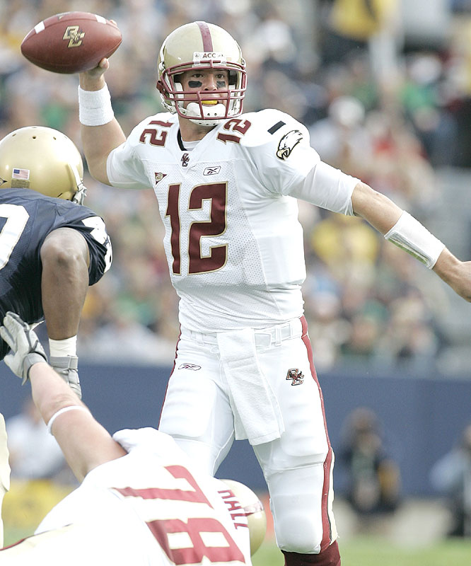 Matt Ryan passed for 290 yards and a pair of touchdowns as Boston College earned its fifth straight win over Notre Dame and improved to 7-0 for the first time since 1942.