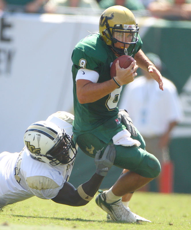 Matt Grothe threw for two touchdowns and ran for two more as the Bulls won playing at home for the first time since climbing into the top 10.