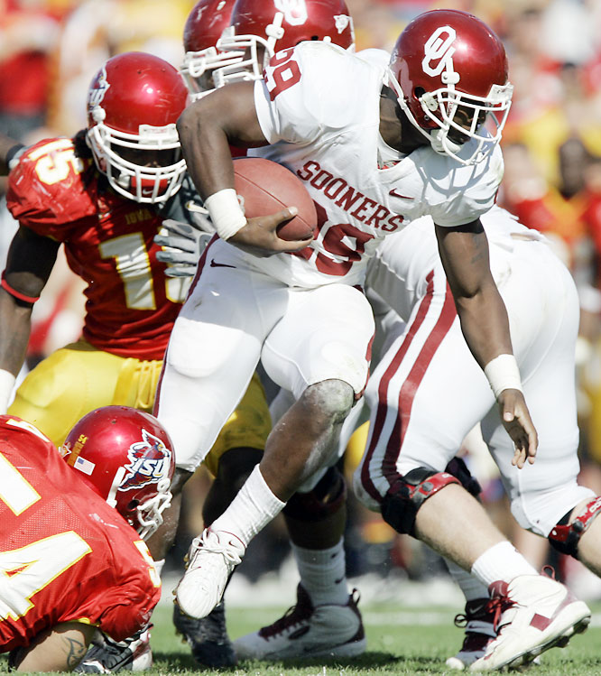 The Cyclones held a 7-0 advantage at the half, but Chris Brown rushed for two second-half touchdowns in leading the Sooners to victory.