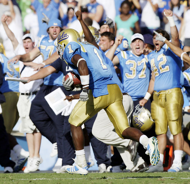 One week after Oregon State ruined the Golden Bears' perfect season, UCLA handed Cal its second straight defeat. Alterraun Verner (pictured) put the game away by returning an interception 76 yards for a touchdown.
