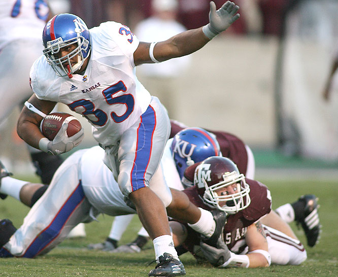 Brandon McAnderson ran for 183 yards and two touchdowns as the Jayhawks improved to 8-0 for the first time since 1909.