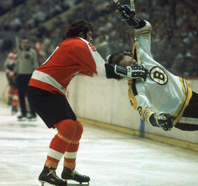 "They won two Stanley Cups with David ""The Hammer"" Schultz.  Pop quiz: Where does the nickname come from?  Maybe from Schultz's ability to do what he did in one of the era's most famous fights, when he hammered the Rangers' Dale Rolfe. The Bullies were only fun to play against if you enjoyed getting your teeth extracted."