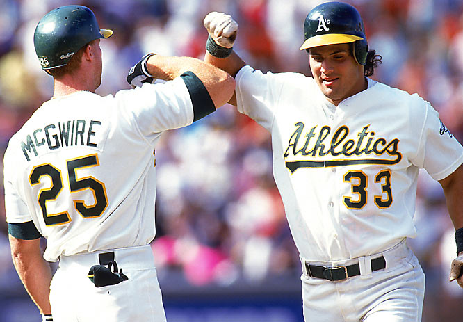 "The Bash Brothers (Mark McGwire and Jose Canseco) would punctuate their home runs (of which there were many) with their forearm ""Bash"" celebrations at home plate. Dennis Eckersley would cap every save with a windmill fist pump-and-point gesture at the batter. And, oh yeah, Rickey Henderson was on these teams. What made it all the more irritating is their amazing consistency -- 306 wins and three consecutive AL pennants."