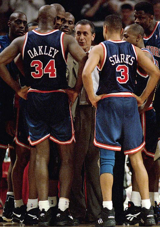 Pat Riley learned his lesson well from the Bad Boys Pistons, molding the early '90s Knicks into a facsimile of those rough-and-tough Pistons. Led by John Starks, Anthony Mason and Charles Oakley, the overachieving Knicks scratched and clawed their way to the Finals, where they lost to the Houston Rockets.