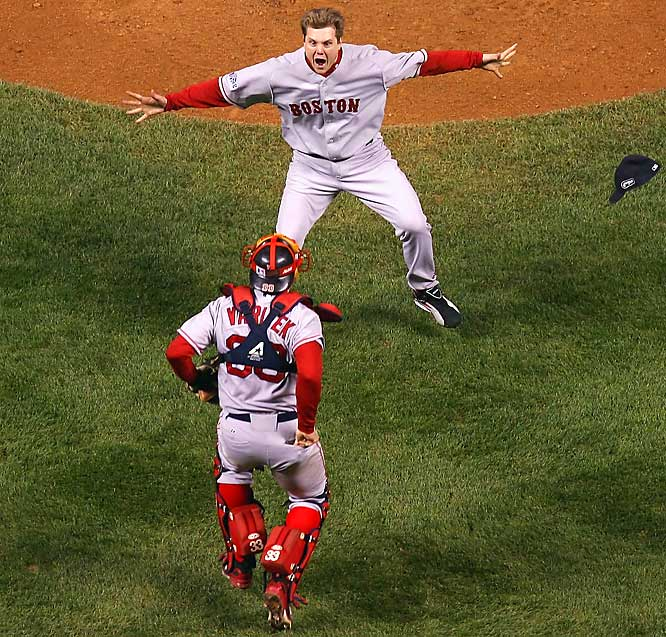 Jason Varitek and Jonathan Papelbon celebrate a World championship after Pap blew away Seth Smith with a fastball to finish the game.
