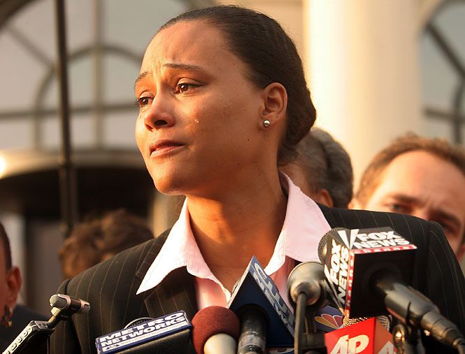 Hers was a tragic free-fall from grace. In Sydney in 2000, Jones won a record five Olympic track and field medals (three golds in the 100 and 200 meters and 4x400 relay). In October, caught in the web of the BALCO investigation, she admitted using steroids and was stripped of her medals. Now broke, Jones returned her medals to the IOC.