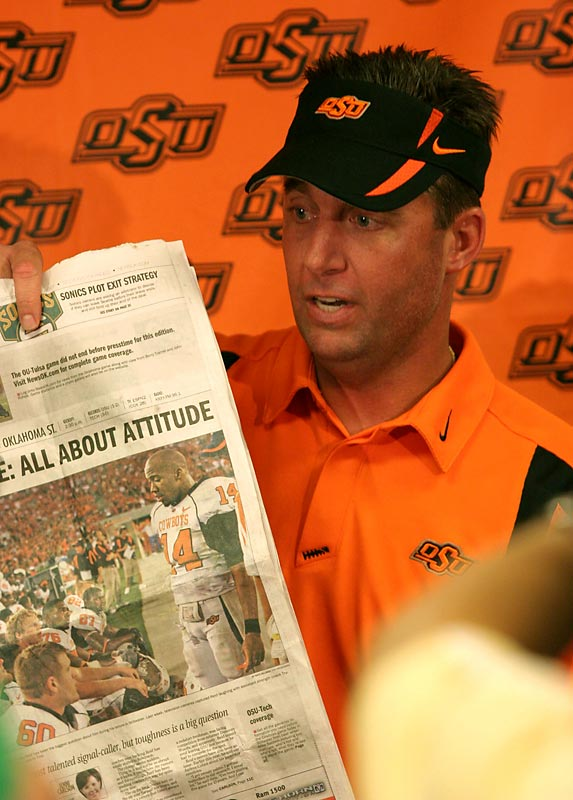 It was the tantrum heard `round the nation. Earlier this season the Oklahoma State coach, unhappy that a local columnist wrote a critical column on demoted quarterback Bobby Reid, used his entire postgame press conference to trash the story and explain why it wasn't fair or accurate.  This after a win over Texas Tech, no less (Gundy didn't say a word about the game). Maybe Gundy should have read the entire article and confronted the writer in private. Instead, he ignited a national firestorm and embarrassed himself and his university.