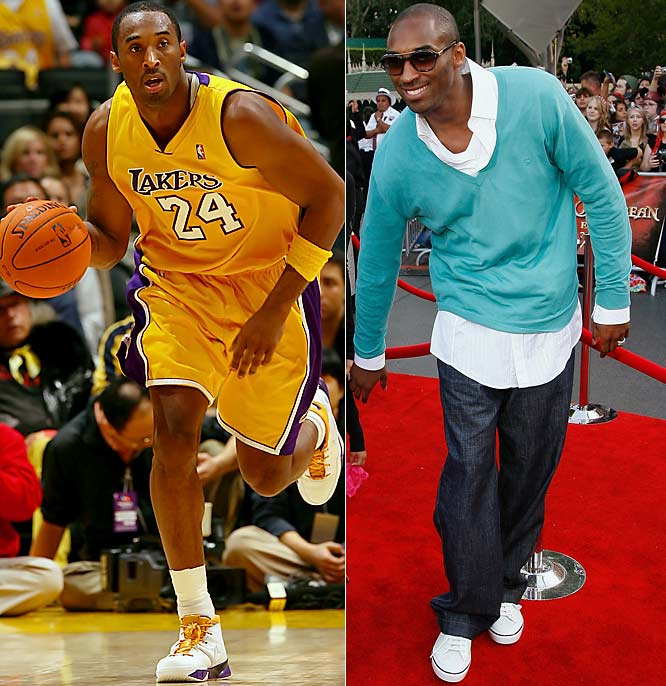 Kobe wants a wardrobe change: no more Laker gold and blue. Yet he'll still sit at the dining room table with his wife and select swaths for his custom-made Gucci suits.