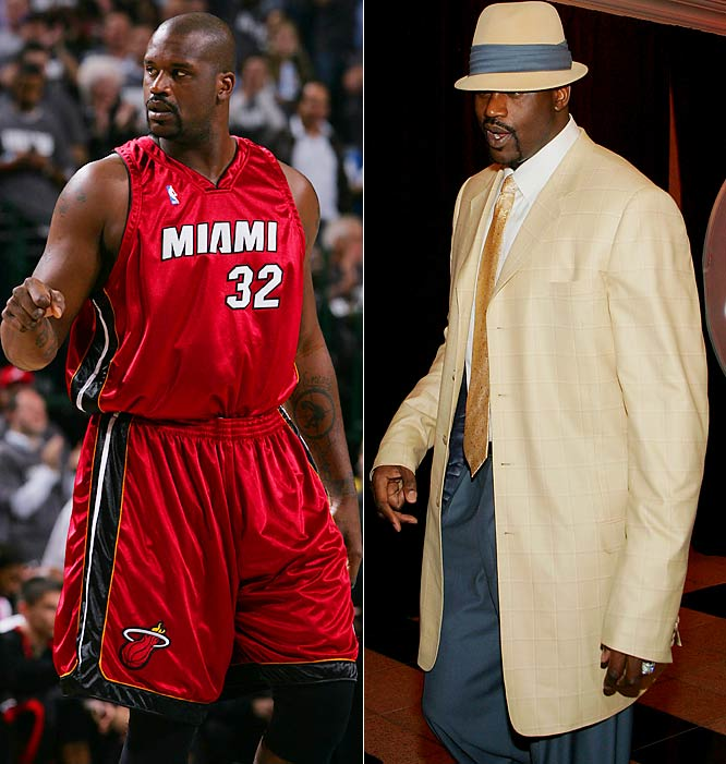 Go ahead. YOU tell the NBA's one-man Big and Tall Men's Shop his coat's too long. Actually, the Diesel's still got inimitable style. Shaq can still take it to the rack.