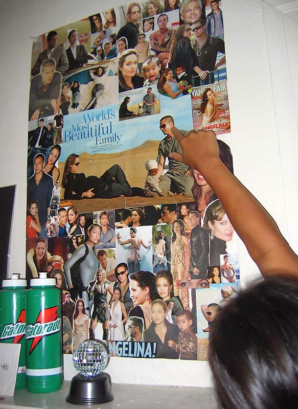 Obsessed? Nooo ... A-Lo just happened to have enough time between practice, school and sleep to create a poster-sized collage of her two favorite people in the world.