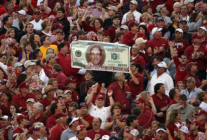 Alabama fans have their money on Nick Saban to bring the Crimson Tide back to college football's elite.