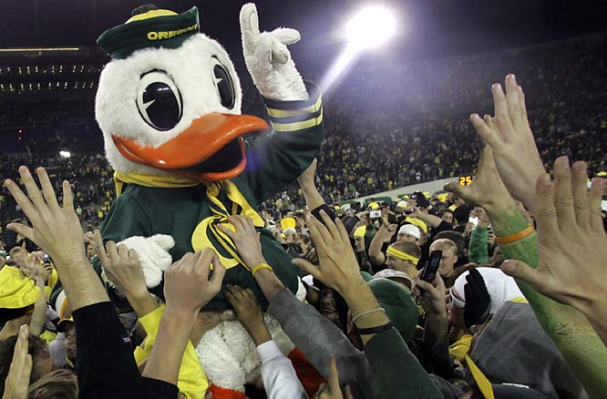 Oregon's mascot is carried over the crowd after the Ducks' 35-23 victory over Arizona State.