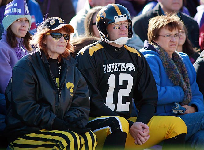 Iowa Alums go old school in their attire for Saturday's 28-17 victory over Northwestern.