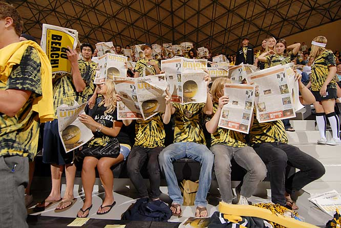 These Long Beach State fans have better things to do than listen to the starting lineup of Brigham Young.