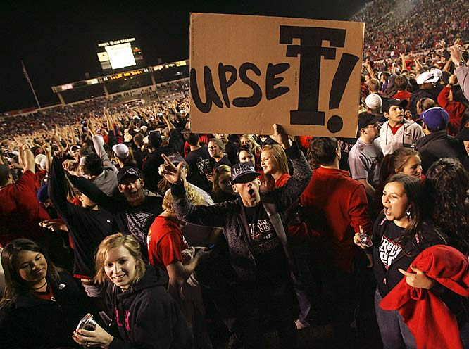 Texas Tech fans celebrate the Red Raiders' 34-17 upset over Oklahoma.