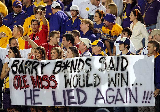 LSU fans have fun with Barry Bonds -- and the poor Ole Miss football team.