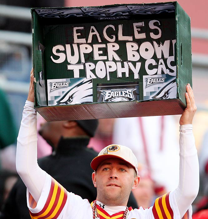 This Redskins fan hits the Eagles below the belt.