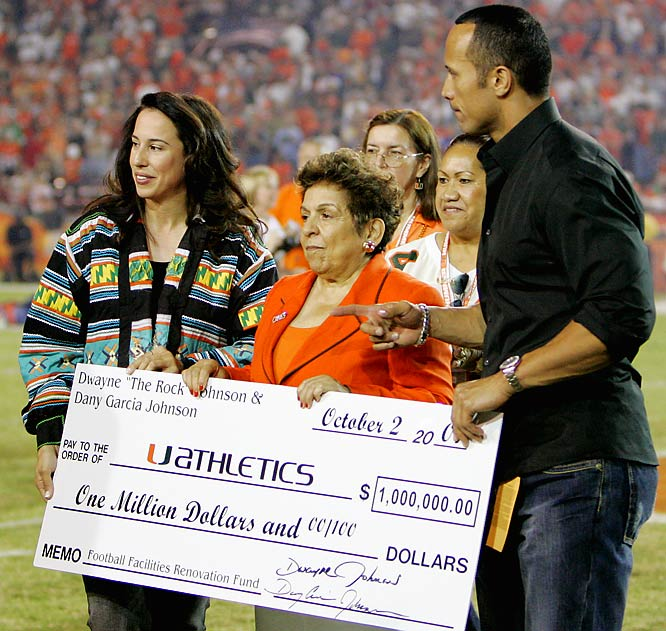 It's a good thing the University of Miami got that $1 million donation from The Rock BEFORE the Hurricanes lost 48-0 to Virginia Saturday.
