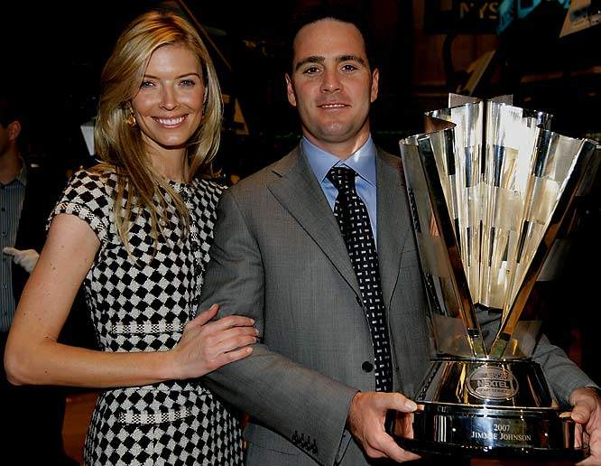 Jimmie Johnson toured the Stock Exchange with his wife, Chandra, in the racing hotbed of New York City on Monday.