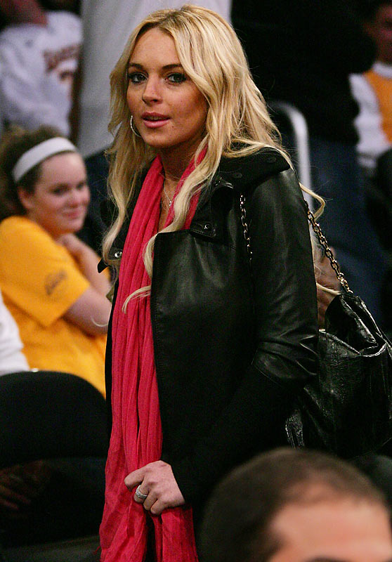 Speaking of stars attending basketball games, Lindsay Lohan looked nice and sober at Monday's Sonics-Lakers game.