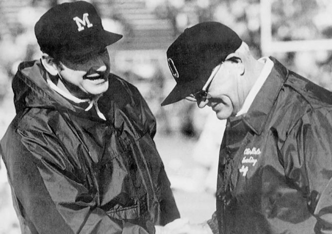 "In Bo Schembechler's first game against Woody Hayes -- under whom he coached for six years in Columbus -- Schembechler led his 8-2 Michigan team to a 24-12 victory over No. 1 (and undefeated) Ohio State, a team Hayes later called his best ever. The Michigan victory set the stage for the ""10-Year War"" between Schembechler and his mentor."