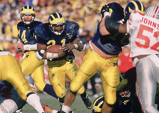 The Buckeyes, No. 2 nationally and playing for a potential national championship, featured Heisman Trophy-winning tailback Eddie George. He was overshadowed, however, by Michigan tailback Tshimanga Biakabutukua, who rushed for 313 yards and a touchdown on 37 carries.