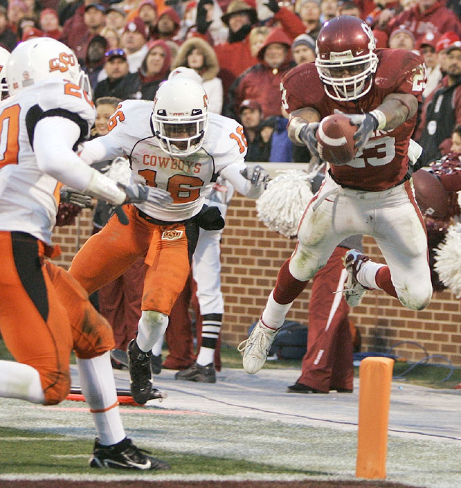 Allen Patrick ran for 202 yards and a pair of touchdowns as the Sooners clinched a spot in the Big 12 championship game.