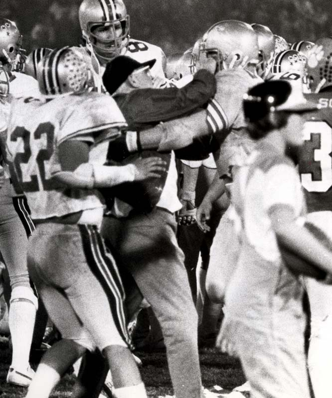 Hayes' volatile temper was often on display during key games, such as the Buckeye's 1978 Gator Bowl matchup against Clemson.  Hayes' attacked a Clemson player, punching him in the throat after he intercepted a pass along the Buckeye sideline in the closing seconds of the game.