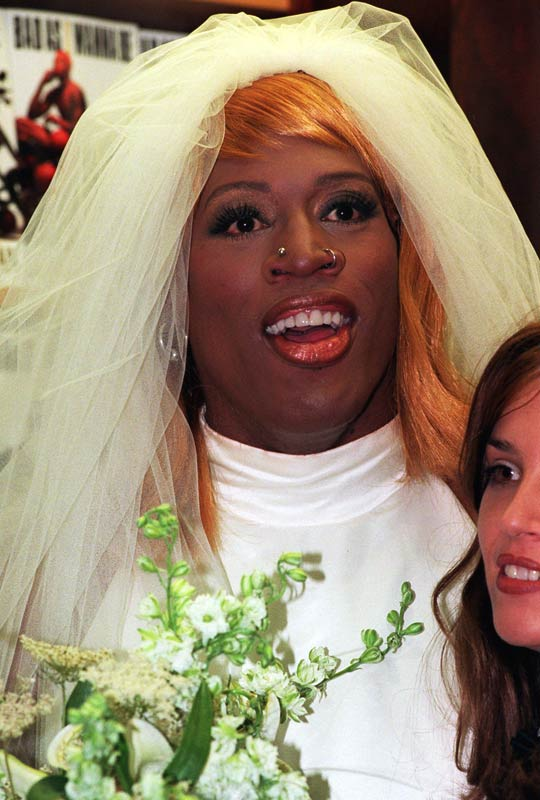 "Among the many ""quirky"" actions of one of the best power forwards in the game, Rodman, who once wore a wedding dress to promote a book, picked an odd time to help friend Hulk Hogan wrestle in the WCW --  the 1998 NBA Finals. With his Chicago Bulls leading the series 2-1 against the Utah Jazz, Rodman skipped practice prior to Game 4 to wrestle, a decision that the Bulls organization and fans strongly opposed."