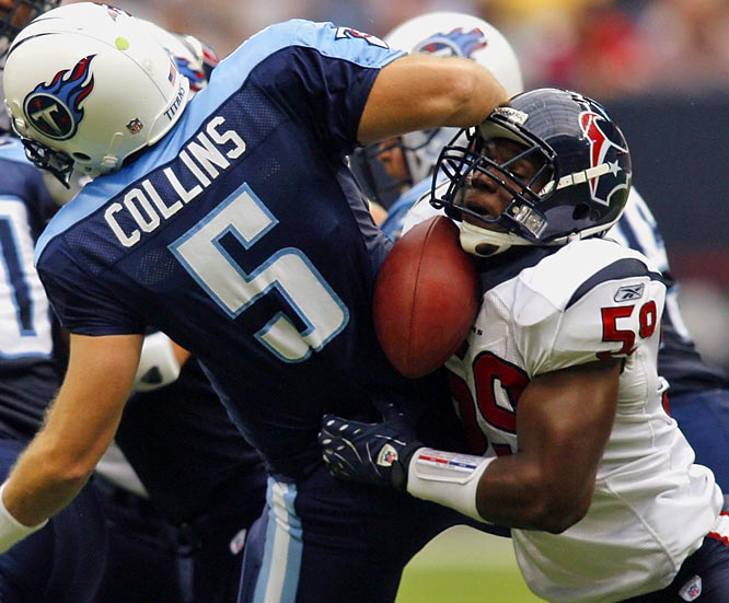 As a rookie with the Houston Texans, Ryans was second in the league in tackles (155) and won the 2006 Defensive Rookie of the Year award. He has great speed and instinct to be near the ball.
