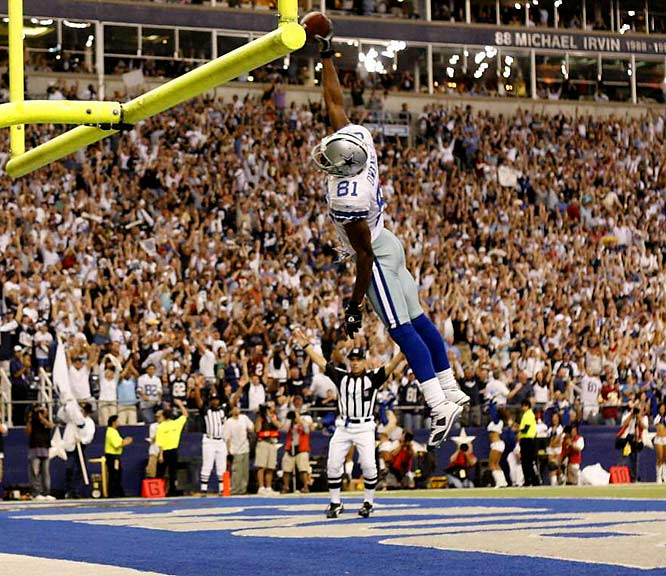The mercurial wideout's second touchdown -- the 124th of his colorful career -- gave the Cowboys a permanent lead and moved Owens ahead of Marvin Harrison into third place on the all-time touchdown receptions list.