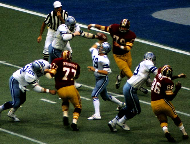 "Dave Robinson's ferocious hit on Roger Staubach sent the Dallas quarterback to the bench with 9:57 remaining in the third quarter. Enter Clint Longley. The unheralded rookie quarterback out of Abilene Christian kept the Cowboys hanging around long enough to fire a 50-yard touchdown pass with 28 seconds left, locking down a stunning 24-23 victory. ""I don't have very much to say,"" Washington coach George Allen would say. ""It was probably the toughest loss we ever had."""