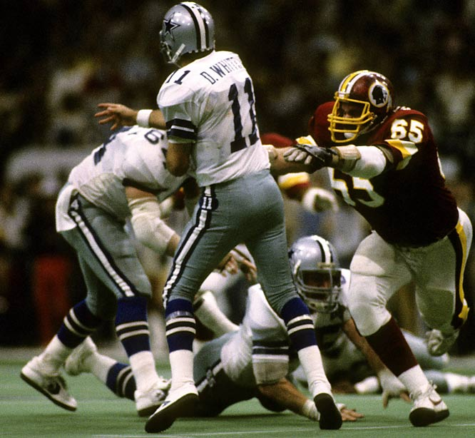 With Washington's slim playoff hopes hanging in the balance, the two-time defending NFC champs fought back from a 21-6 halftime deficit to stake a 23-21 lead through three quarters. Danny White put the Cowboys back on top with a 43-yard touchdown pass to Tony Hill. But John Riggins would seal the victory -- and first place in the NFC East -- with a one-yard touchdown plunge midway through the fourth.