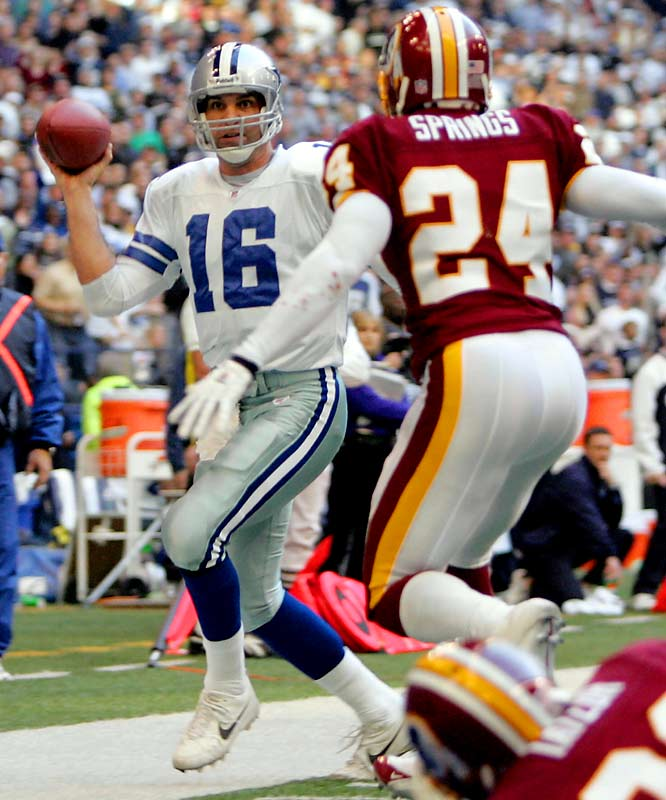 With two struggling sides playing for little but pride, ageless Dallas quarterback Vinny Testaverde stunned the Redskins with a last-minute touchdown strike. The 41-year-old quarterback found Patrick Crayton for a 39-yard score with 30 seconds left to give the Cowboys a come-from-behind victory at Texas Stadium.