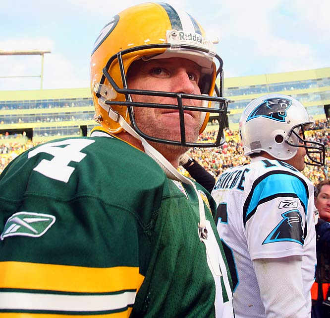 Brett Favre threw three touchdowns in a game that featured the oldest starting quarterbacks duo in NFL history, the 44-year-old Vinny Testaverde and 38-year-old Favre.