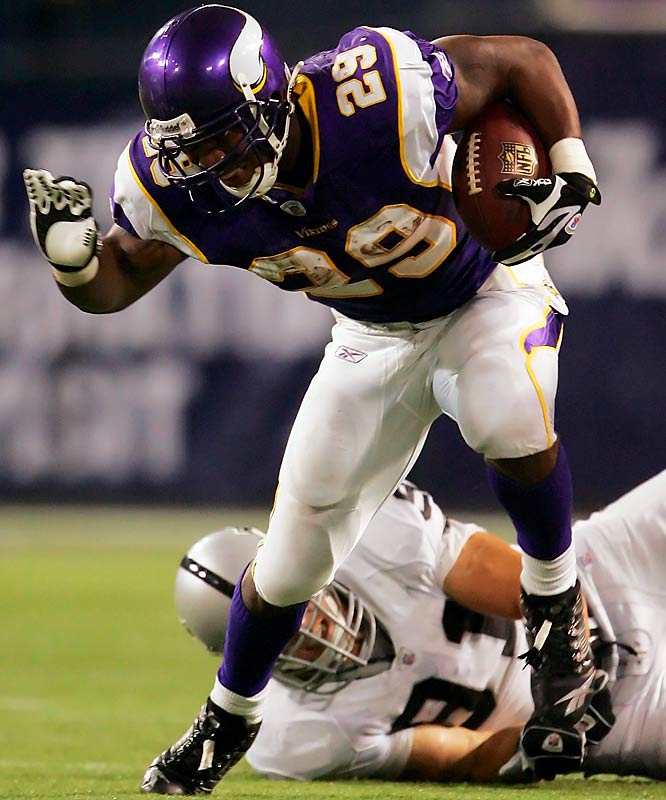 With Adrian Peterson out with a knee injury, backup running back Chester Taylor responded in a big way with 202 total yards and three touchdowns against the Raiders.