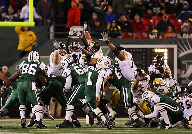 Mike Nugent kicked a 38-yard field goal 5:03 into overtime to give the Jets an unlikely victory over the Steelers. The kick broke a six-game losing streak for the Jets (2-8), who celebrated their first win since Week 3 against Miami.