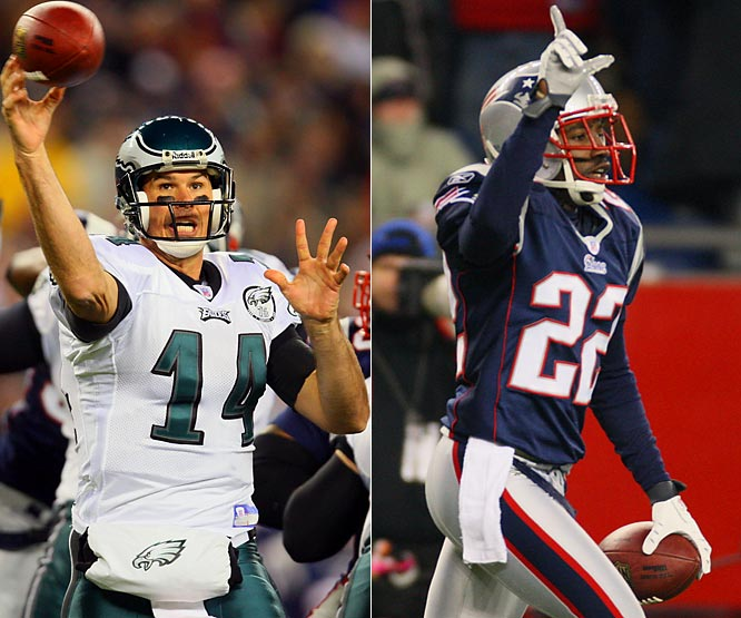 Eagles quarterback A.J. Feeley had a brilliant night in Foxboro, but his interception late in the fourth quarter was a huge mistake. The Philly quarterback had plenty of time, but went for the big score even with dangerous Patriots cornerback Asante Samuel lurking in the defensive backfield.