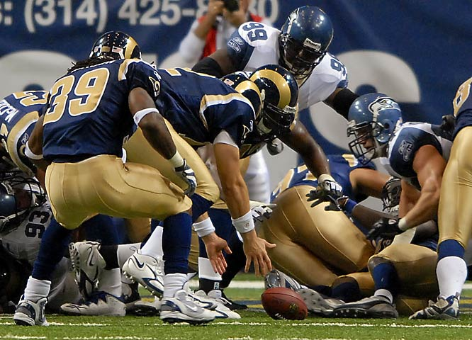 After watching a 19-7 halftime lead fritter away to a 24-19 deficit, the Rams still had a chance to salvage their third-consecutive victory in the final minute on fourth-and-goal from the Seattle 1. But backup quarterback Gus Frerotte fumbled the snap and lost four yards on the play to complete a devastating St. Louis collapse.